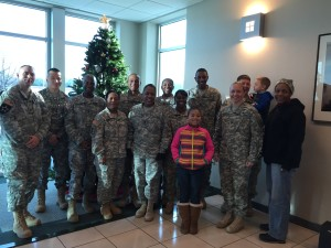 Soldiers from Ft Lee who came to collect the gifts